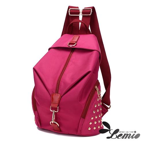 【Lemio】超輕量 防潑水牛津布 鉚釘後背包(薔薇紅)