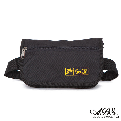 ABS愛貝斯 台灣製造輕量防水多層腰包 6層設計可以分類各幣別(百搭黑)720