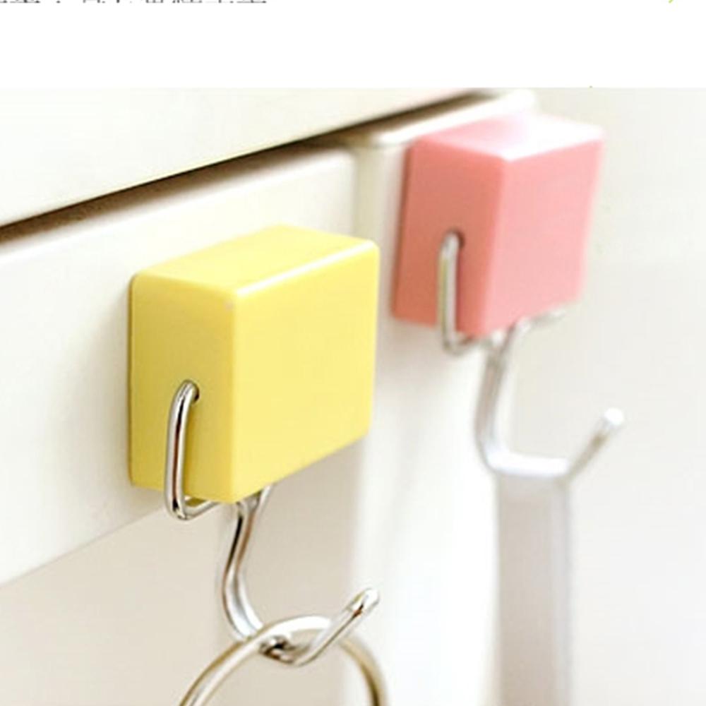 方塊糖果彩色180度旋轉強力磁鐵掛勾4入組 顏色