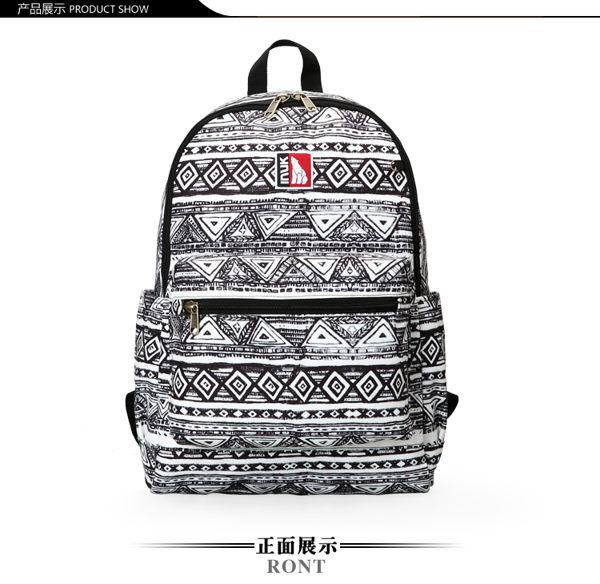 【INUK加拿大潮牌包】圖騰印記雙肩後背包-黑/灰