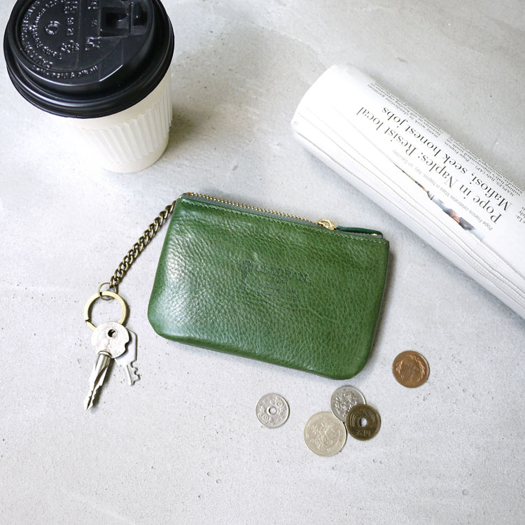 CLEDRAN|質感生活 簡約植鞣牛皮小物收納包/零錢/鑰匙包綠色