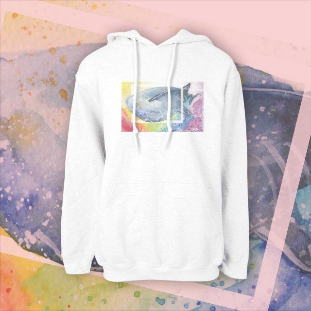 【kuroi-T】鯨鯊 美國GILDAN棉柔質感 連帽T恤XS白色