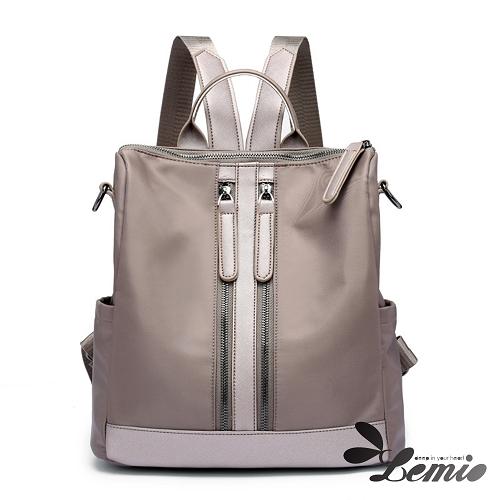 【Lemio】韓系牛津布雙肩防潑水兩用後背包(品味灰)