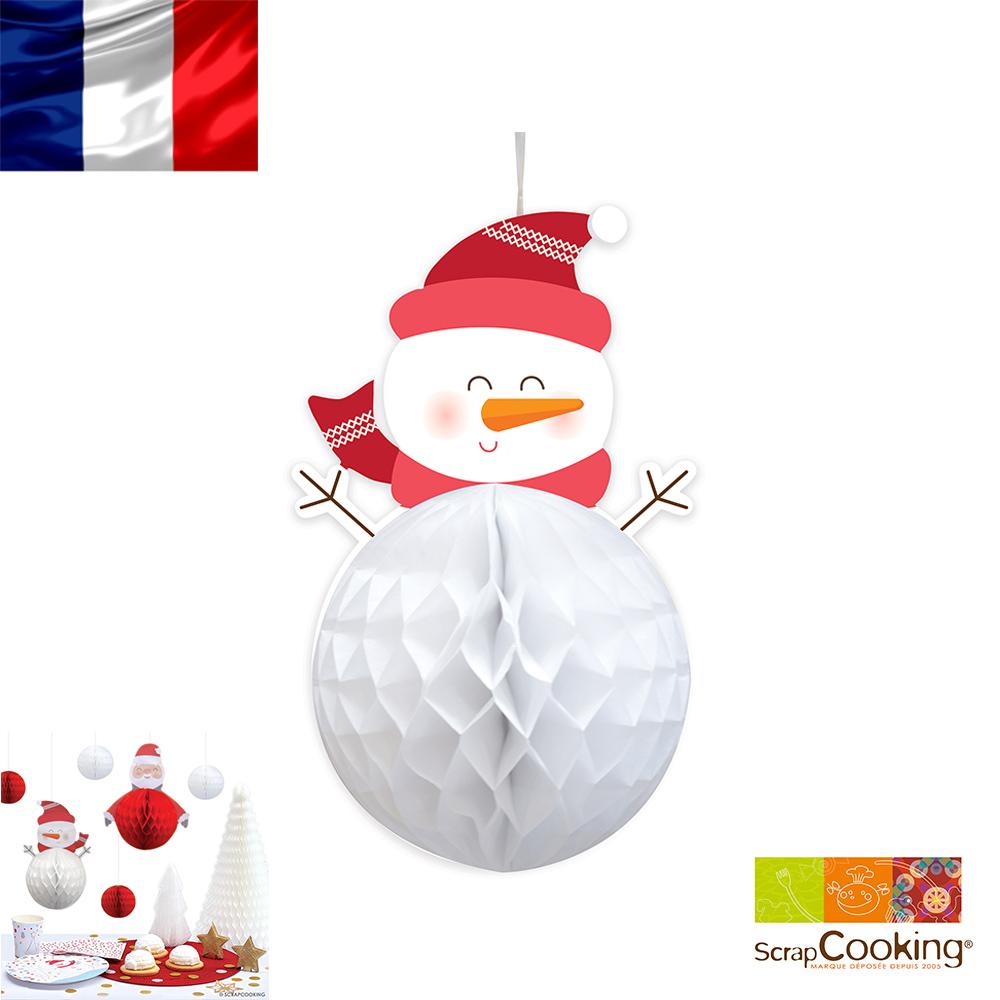 法國~Scrap Cooking樂桃烘廚~聖誕雪人蜂窩裝飾彩球