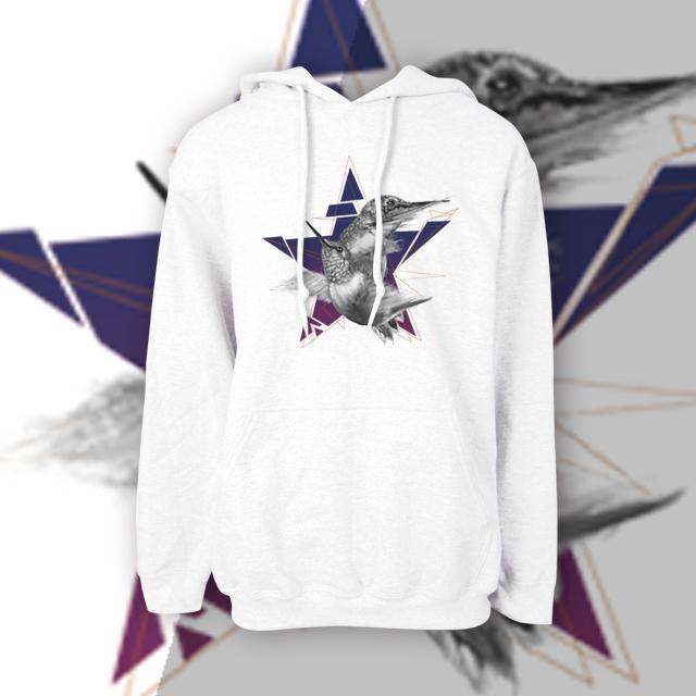 【kuroi-T】Star 美國GILDAN棉柔質感 連帽T恤XS白
