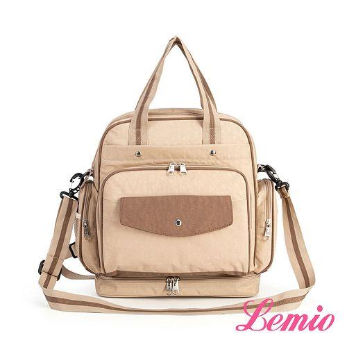【Lemio】多功能多收納雙肩三用媽咪尿布包(卡其棕)
