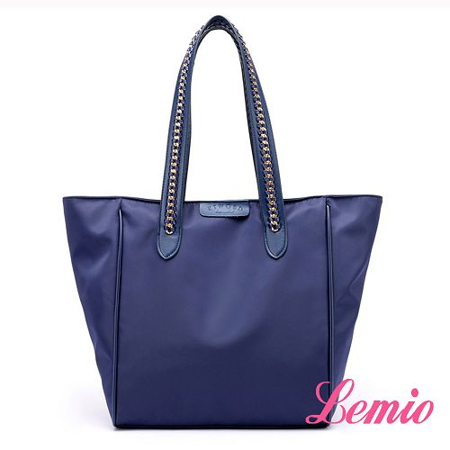 【Lemio】韓流時尚編織單肩防潑水牛津布包(深邃藍)