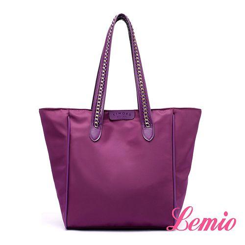 【Lemio】韓流時尚編織單肩防潑水牛津布包(魅力紫)