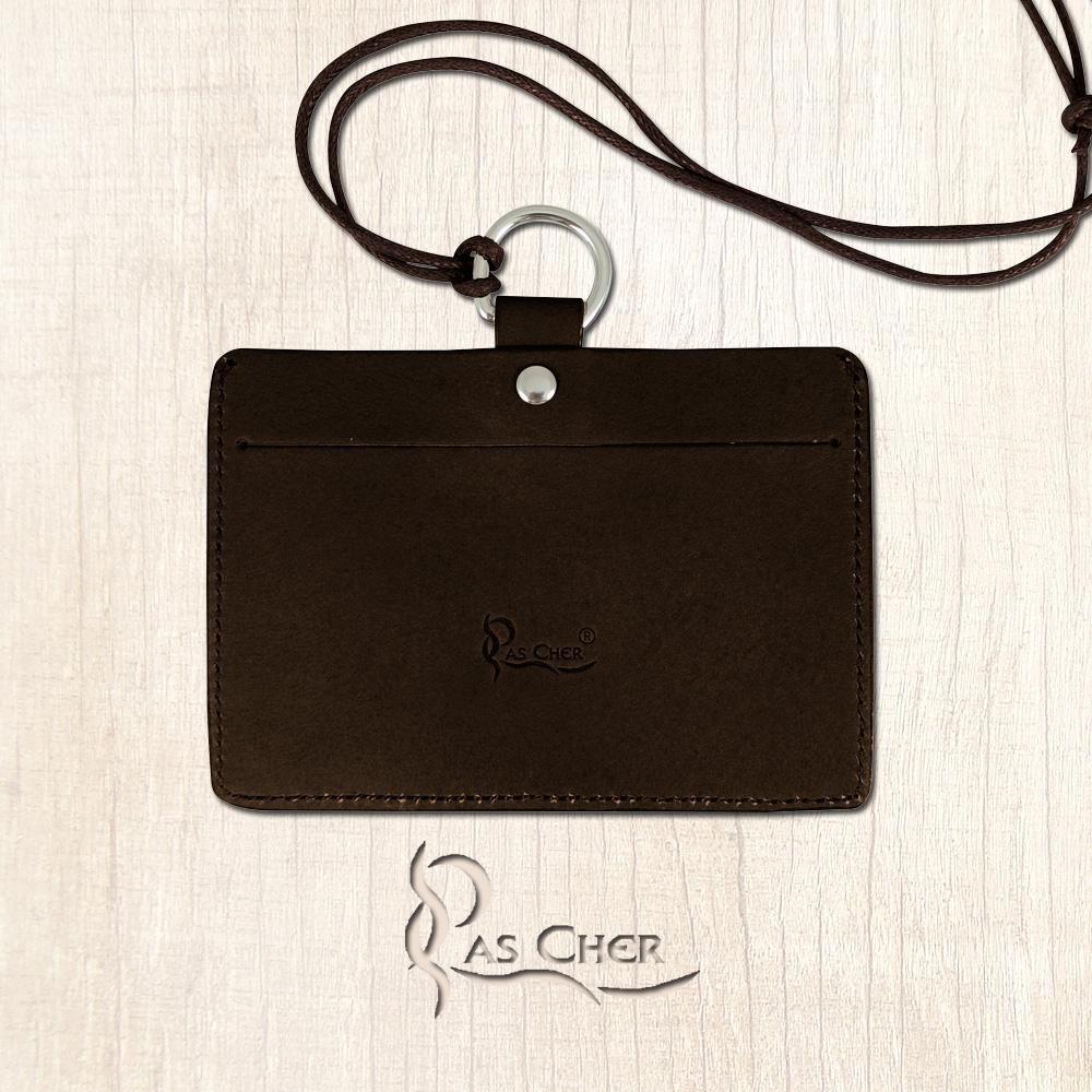 【PAS CHER 巴夏喀】識別證件套(橫式)- 焦茶
