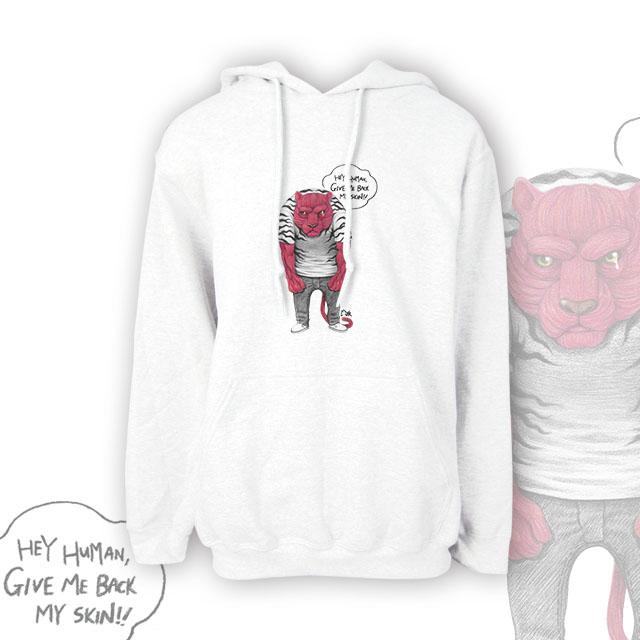 【 插畫家 / 牛奶丼MILK DONG】無皮虎 美國GILDAN棉柔質感 連帽T恤 (質感白/低調灰)XS質感白