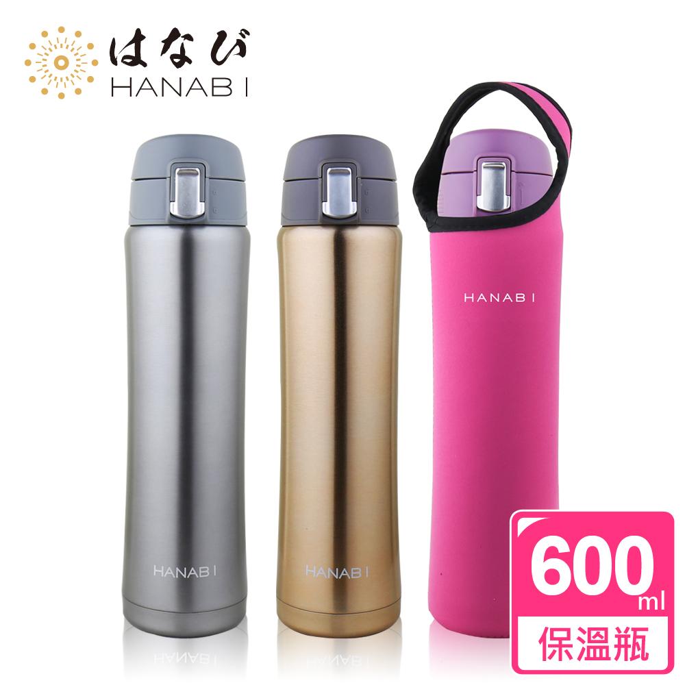 【HANABI賀娜】316不鏽鋼安全彈跳保溫瓶600ML 3色  墨色