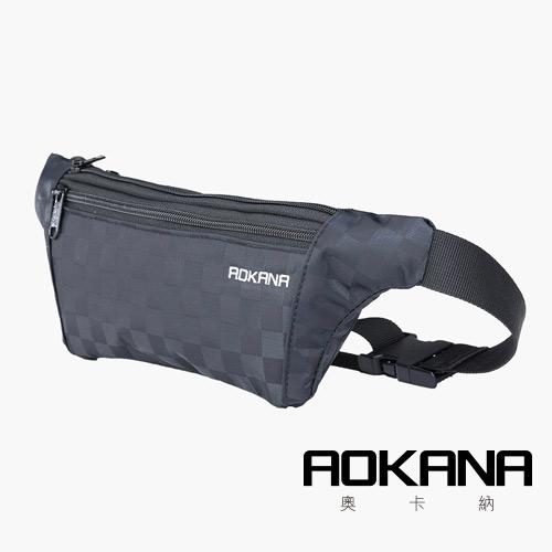 AOKANA奧卡納 YKK拉鍊 台灣製造 五種格層高防水面料防盜腰包 03-017D1黑格