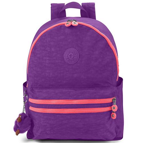 KIPLING 撞色拉鍊款後背包-紫色 (現貨+預購)紫色