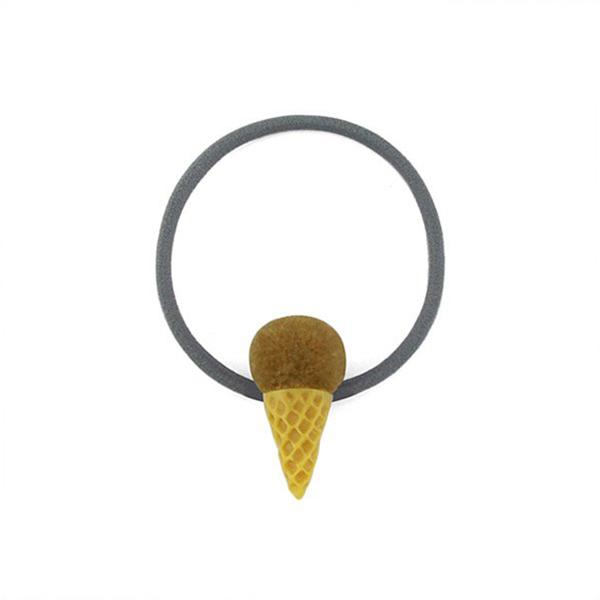 Snatch 毛球冰淇淋甜筒髮圈 - 奶茶   Fur Ball Ice Cream Ha