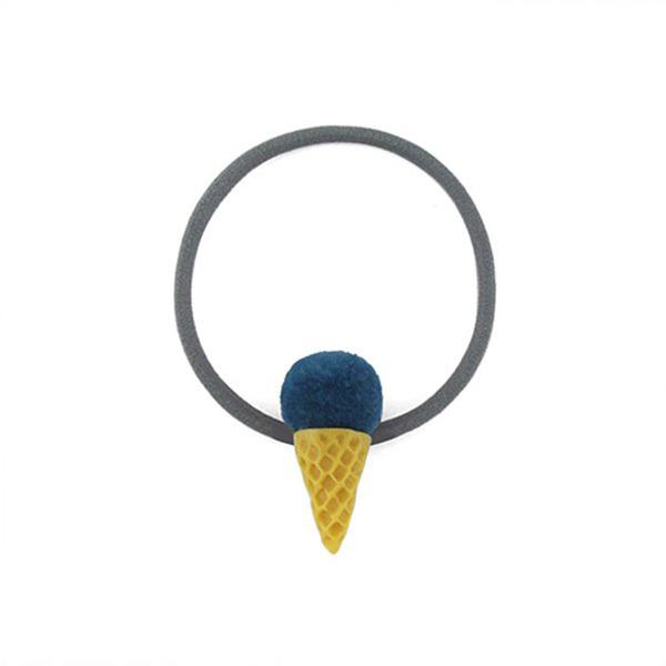 Snatch 毛球冰淇淋甜筒髮圈 ~ 藍莓   Fur Ball Ice Cream Ha