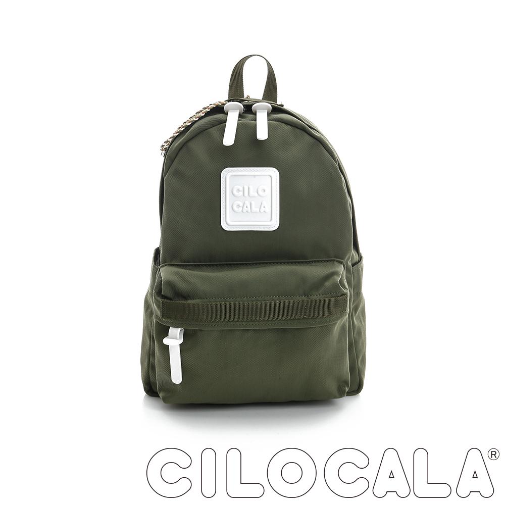 【CILOCALA】亮彩尼龍防潑水後背包 (中)橄欖綠色