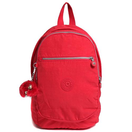 Kipling 簡約造型拉鍊開口尼龍後背包-紅色 (現貨+預購)紅色