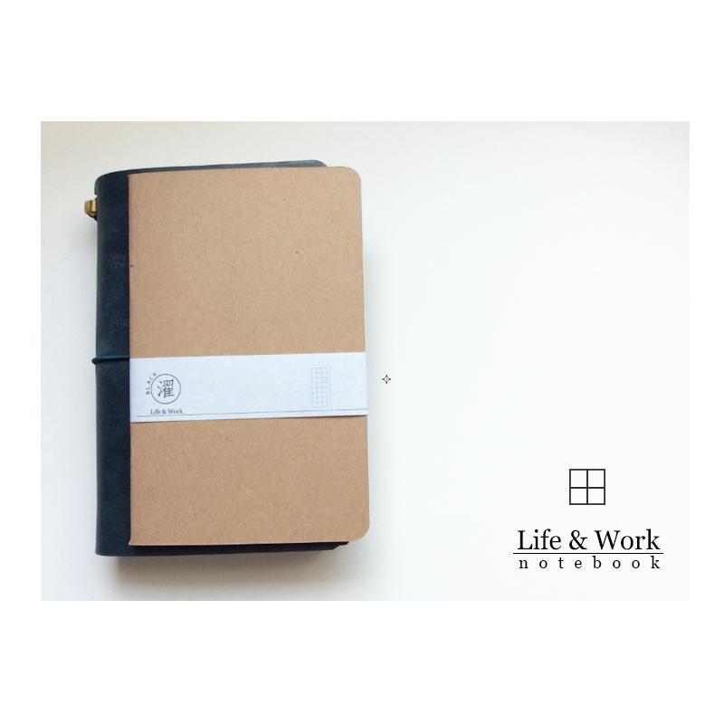 ~黑濯文坊~Life   Work 真皮皮革手帳筆記本  B6 slim  ~巴川紙內頁本