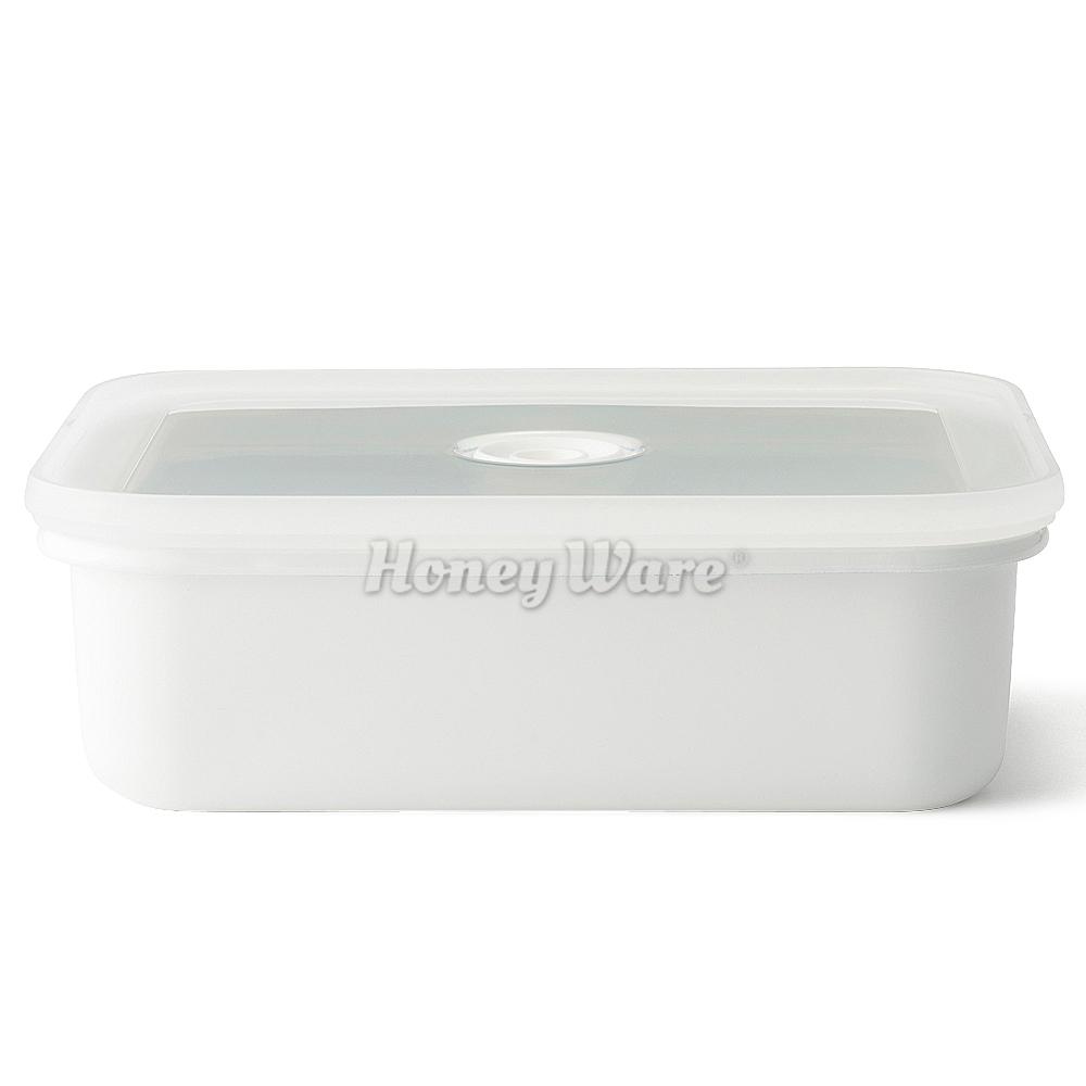 日本富士琺瑯 Honey Ware-Vido系列真空琺瑯盒淺型-M白色