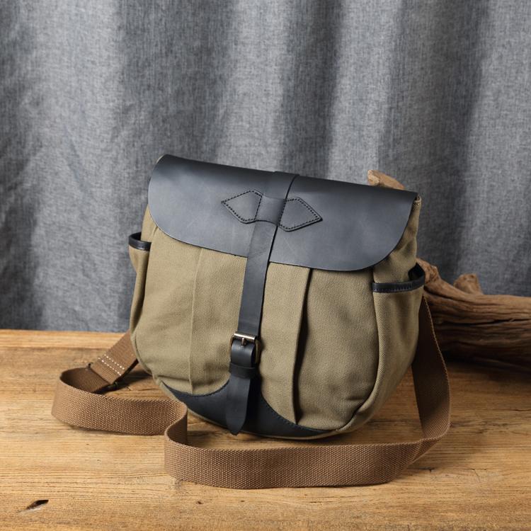 ~Solomon皮件~帆布馬鞍包 中性休閒書包 皮革側背包旅行包袋 棕綠
