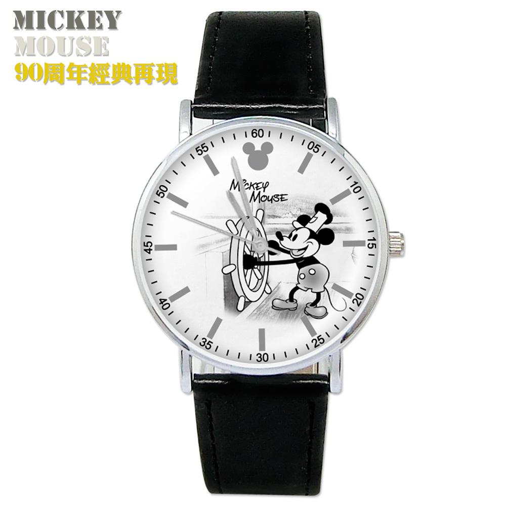 迪士尼 米奇90周年限定 復古米奇皮帶手錶船長米奇