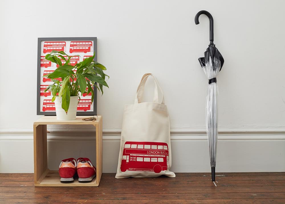英國蛋 純棉帆布包 | 倫敦公車紅色