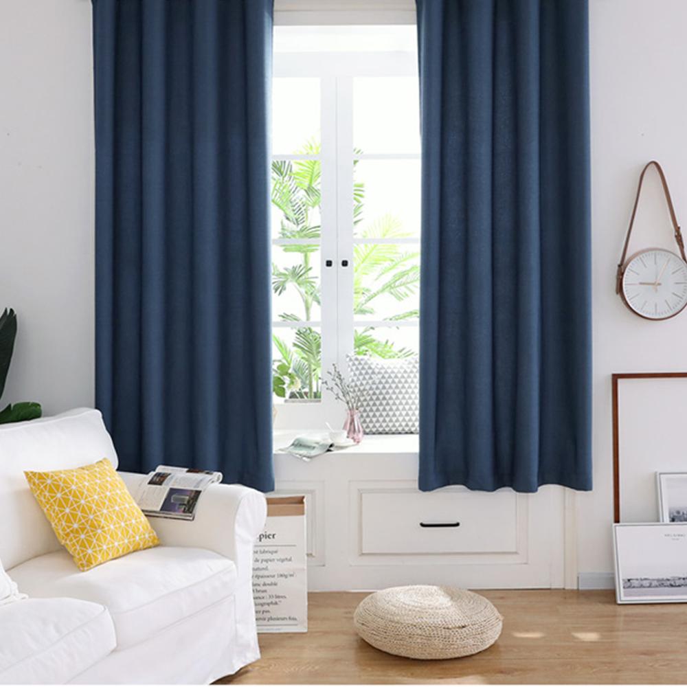 【巴芙洛】絲絨麻純色加厚遮光窗簾/半腰窗簾(寬200x高160cm)寶藍