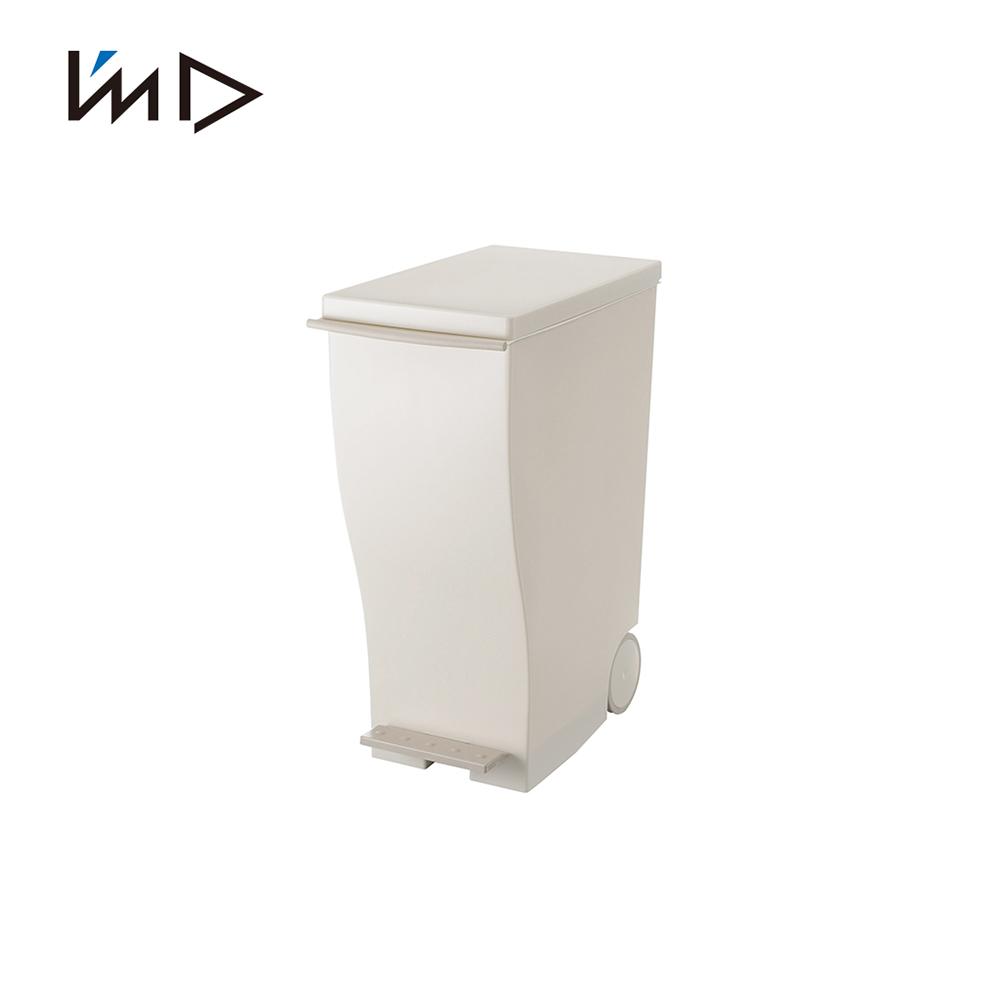 【 岩谷Iwatani】純色曲線長型可分類腳踏垃圾桶(附輪)-33L-白