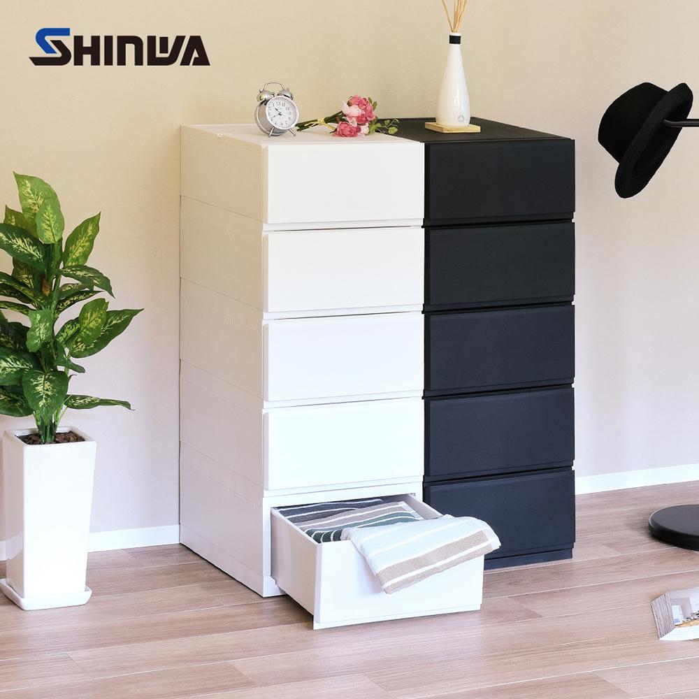 【nicegoods】日本製 Shinwa伸和 35面寬五層抽屜收納櫃-DIY-典雅白