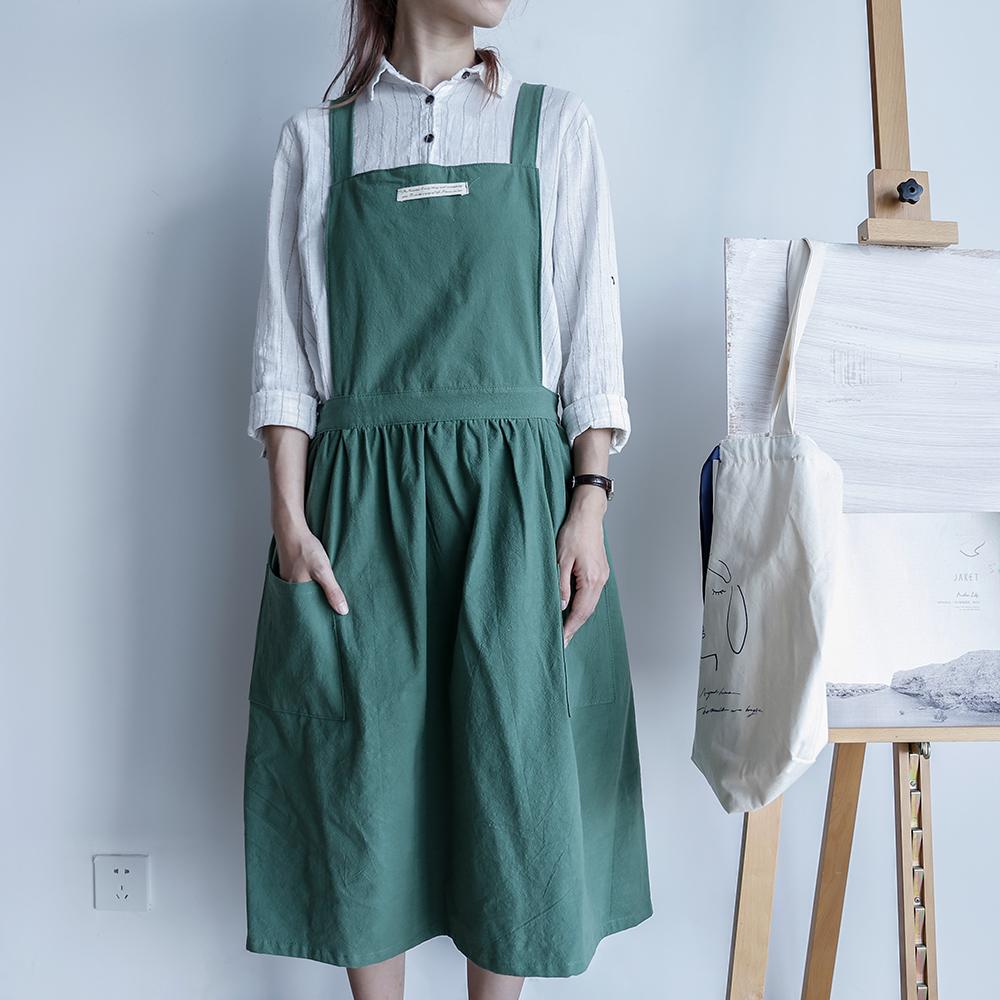 【巴芙洛】文青全棉文藝百褶圍裙(新品圍裙/圍裙/文創圍裙) 草綠色