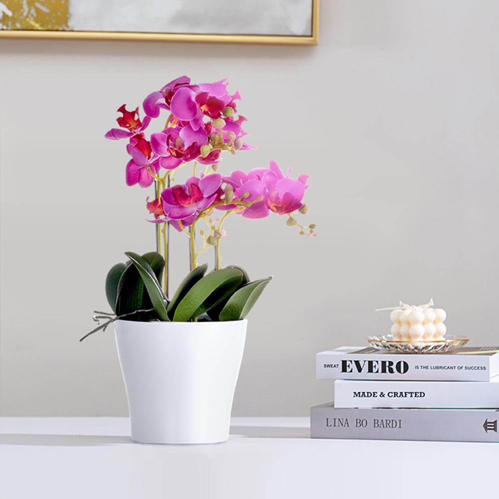 【Meric Garden】北歐ins輕奢風仿真14吋蝴蝶蘭盆栽/桌面裝飾擺設_ 紫紅色